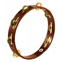 "Photo MEINL TAMBOURIN BOIS 10"" BRASS JINGLES - AFRICAN BROWN"