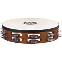 "Photo MEINL TAMBOURIN BOIS 10"" STEEL JINGLES - AFRICAN BROWN AVEC PEAU"