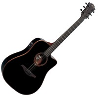 Photo LAG T100DCE-BLK DREADNOUGHT CUTAWAY ACOUSTIC/ELECTRIC BLACK