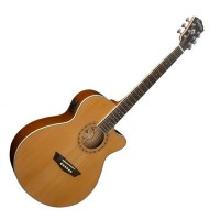 Photo WASHBURN WMJ11SCE - ÉLECTRO-ACOUSTIQUE MINI JUMBO NATURELLE