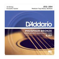 Photo D'ADDARIO EJ37 PHOSPHOR BRONZE 12-STRING MEDIUM TOP/HEAVY BOTTOM 12/54
