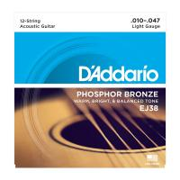 Photo D'ADDARIO EJ38 PHOSPHOR BRONZE 12-STRING LIGHT 10/47