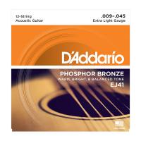 Photo D'ADDARIO EJ41 PHOSPHOR BRONZE 12-STRING EXTRA LIGHT 09/45