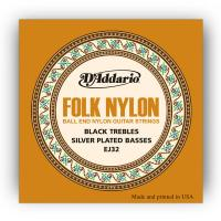 Photo D'ADDARIO EJ32 FOLK NYLON BALL END SILVER WOUND/BLACK