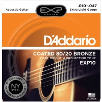 Photo D'ADDARIO EXP10NY COATED 80/20 BRONZE EXTRA LIGHT 10/47
