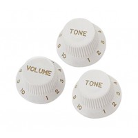 Photo YELLOW PARTS EZ1215W - BOUTONS STRAT (1 VOLUME ET 2 TONE) BLANCS