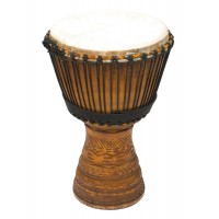 "Photo TANGA DJEMBE IROKO 13.5"" SCULPTE"