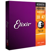 Photo ELIXIR 16002 FOLK NANOWEB PHOSPHOR BRONZE XL 10-47