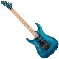 Photo ESP LTD MH-103QM LH SEE THRU BLUE GAUCHER