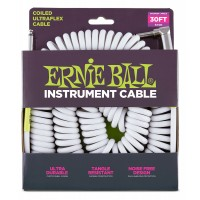Photo ERNIE BALL CABLE ULTRAFLEX JACK/JACK COUDÉ- 9M WHITE