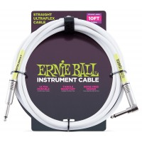 Photo ERNIE BALL CABLE ULTRAFLEX JACK/JACK COUDÉ - 6M WHITE
