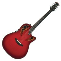 Photo OVATION CUSTOM ELITE DEEP CONTOUR CUTAWAY RED TEARDROP BURST