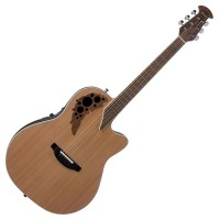 Photo OVATION ELITE T MID CUTAWAY CEDAR NATUREL SATINÉ