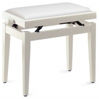 Photo STAGG PB05 WHM SWH - BANQUETTE PIANO BLANC MAT + VINYLE BLANC