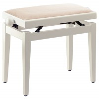 Photo STAGG PB05 WHM VBE - BANQUETTE PIANO BLANC MAT + VELOURS BEIGE