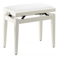 Photo STAGG PB05 WHM VWH - BANQUETTE PIANO BLANC MAT + VELOURS BLANC