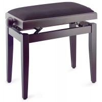 Photo STAGG PB05 RWM SVBK - BANQUETTE PIANO ROSEWOOD MAT + VELOURS LISSE NOIR