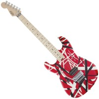Photo EVH STRIPE SERIES LH RED W/BLACK/WHITE STRIPES