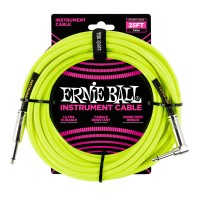Photo ERNIE BALL 6057 CABLE INSTRUMENT JACK/JACK COUDÉ NEON YELLOW 7,62M