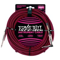 Photo ERNIE BALL 6062 CABLE INSTRUMENT JACK/JACK COUDÉ BLACK/RED 7,62M