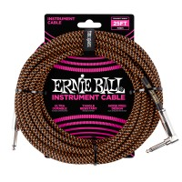 Photo ERNIE BALL 6064 CABLE INSTRUMENT JACK/JACK COUDÉ BLACK/ORANGE 7,62M