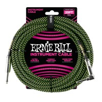 Photo ERNIE BALL 6066 CABLE INSTRUMENT JACK/JACK COUDÉ BLACK/GREEN 7,62M