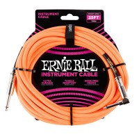 Photo ERNIE BALL 6067 CABLE INSTRUMENT JACK/JACK COUDÉ NEON ORANGE 7,62M