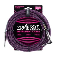 Photo ERNIE BALL 6068 CABLE INSTRUMENT JACK/JACK COUDÉ BLACK/PURPLE 7,62M