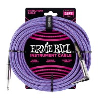 Photo ERNIE BALL 6069 CABLE INSTRUMENT JACK/JACK COUDÉ PURPLE 7,62M