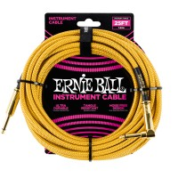 Photo ERNIE BALL 6070 CABLE INSTRUMENT JACK/JACK COUDÉ GOLD/GOLD 7,62M