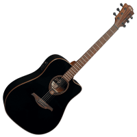 Photo LAG T118DCE-BLK TRAMONATNE DREADNOUGHT CUTAWAY ELECTRO BLACK