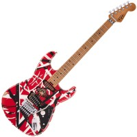 Photo EVH STRIPED SERIES FRANKIE RED/WHITE/BLACK RELIC